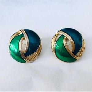 Vintage Gold Tone Earrings with Blue and Green
